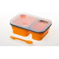 Контейнер силиконовый на 2 отсека Tramp TRC-090-orange 900 мл с ловилкой